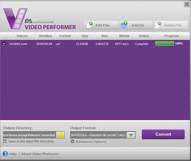 Convert anu Format with VideoPerform
